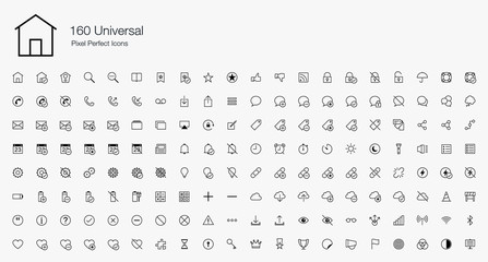 160 Universal Pixel Perfect Icons (line style)