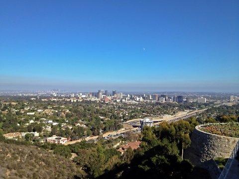 Aerial View of the Los Angeles City Skyline, California, America