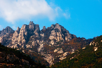 Laoshan mountain's beautiful autumn scenery of China