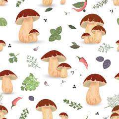 Seamless texture with edible mushroom
