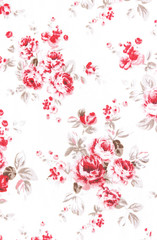 Red rose fabric background, Fragment of colorful retro tapestry