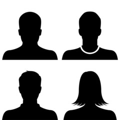 Silhouette avatar profile picture icon set
