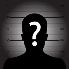 Silhouette of  anonymous man in mugshot or police lineup