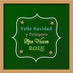 chalkboard with christmas greeting in spanish
