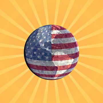 American currency flag globe with sunburst illustration