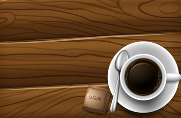 A topview of a table with a cup of coffee
