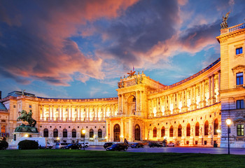 Poster Vienna Vienna Hofburg Imperial Palace at night, - Austria