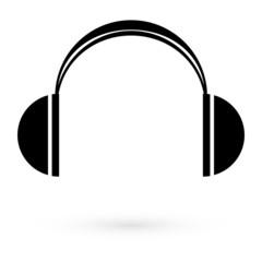 Icon black headphones. Raster