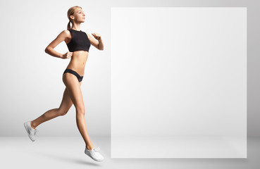 girl running indoor. space for text