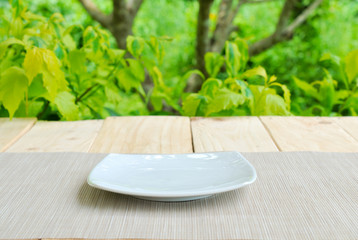 Place for object on plate and wooden table with green summer bac
