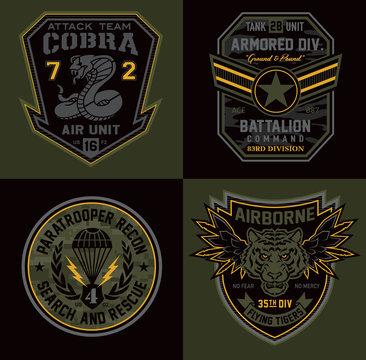 Special unit military patch emblems
