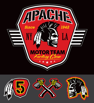 Apache skull motor team graphic set