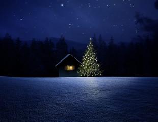 Wall Mural - Schihütte mit Christbaum bei Nacht