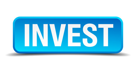 Invest blue 3d realistic square isolated button