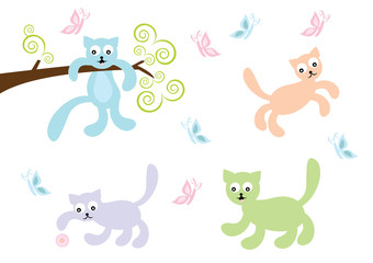 pastelowe kotki