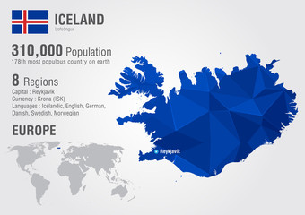 Wall Mural - Iceland island world map with a pixel diamond texture.