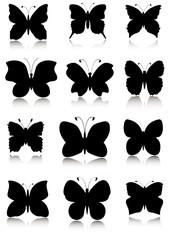 Butterflies silhouettes set