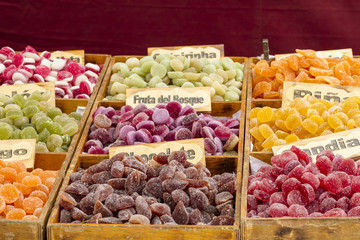 artisan candies in a medieval fair, spain