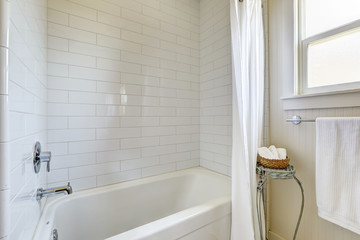 Simple bathroom with tile wall trim and bath tub