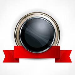 Metallic round award symbol with red ribbon, vector illustration