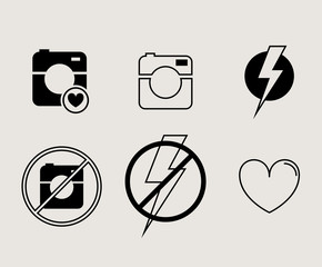 Hipster photo or video camera icon, minimalism style, flat