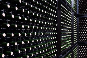 Many glass bottles in storage