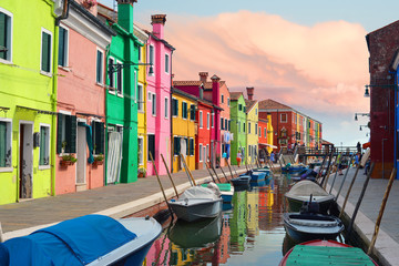 Colorful houses in Burano village on sunset