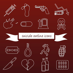 suicide outline icons