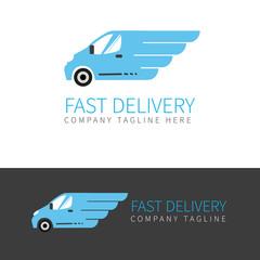 Blue delivery van logo