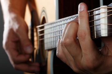Guitarist performing song