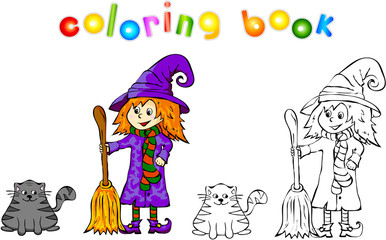 Witch with black cat coloring book