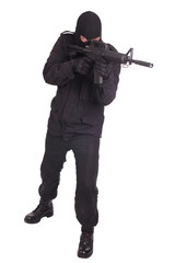 mercenary with m16 rifle