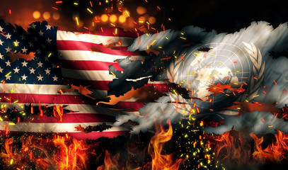 America UN Flag War Torn Fire International Conflict 3D