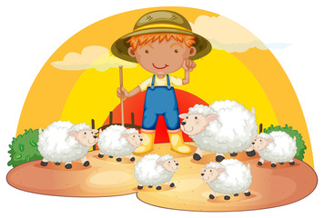 A young boy with his sheeps