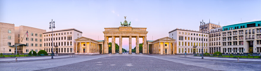 Brandenburg Gate in panoramic view, Berlin, Germany