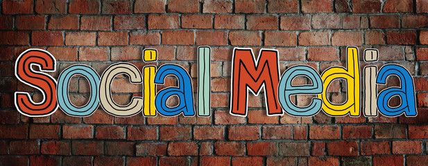 Social Media Word Concepts on Brick Wall