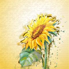 Grunge painting sunflower.