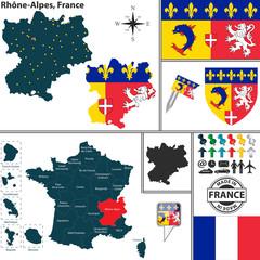 Map of Rhone-Alpes, France