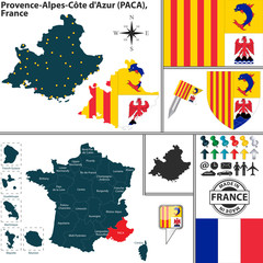 Map of Provence-Alpes-Cote dAzur, France