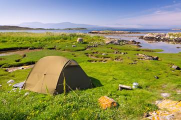 Camping in beautiful scenery