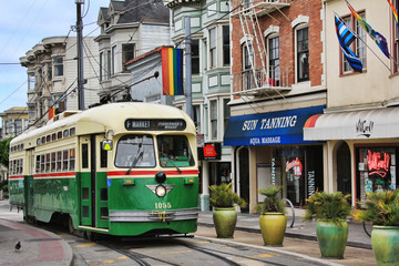 Photo sur Plexiglas San Francisco Green tram