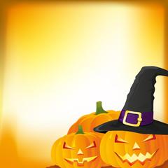 Halloween autumn background with three pumpkins, vector