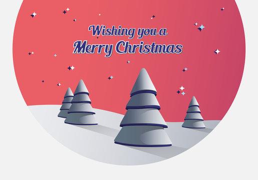 Merry christmas vector with fir trees