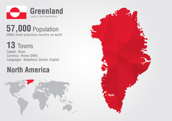 Wall Mural - Greenland world map with a pixel diamond texture.