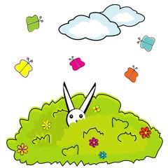 Cartoon bush with hidden bunny