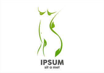 woman body spa green leaf logo design