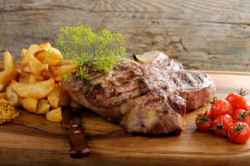 Grilled T-bone steak seasoned with spices