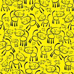 cats and mouse seamless pattern