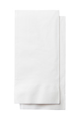 Two White Paper Napkins Isolated on White Background