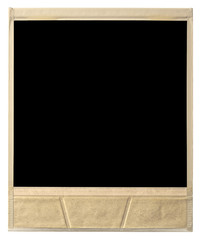 old instant photo frame rear view isolated on white with clippin